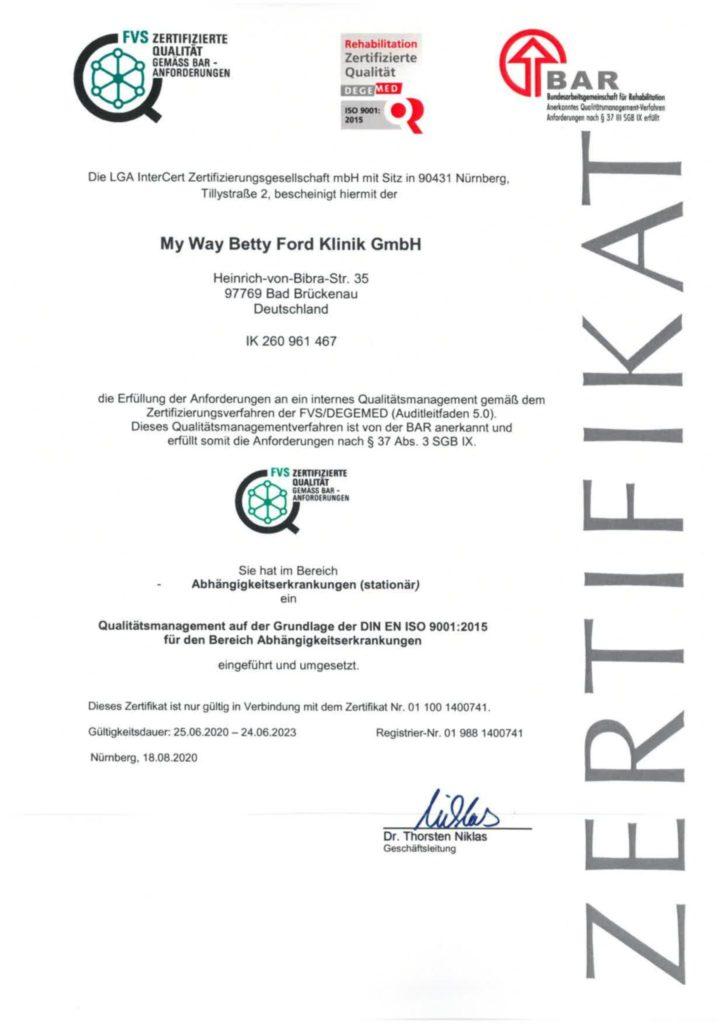 Zertifikat für Qualitätsmanagement im Bereich Abhängigkeitserkrankungen