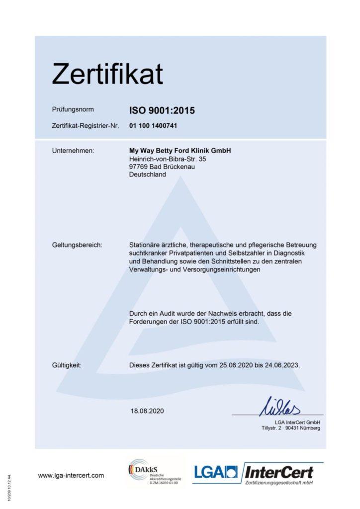 Zertifikat für stationäre ärztliche, therapeutische und pflegerische Betreuung suchtkranker Privatpatienten und Selbstzahler in Diagnostik und Behandlung sowie den Schnittstellen zu den zentralen Verwaltungs- und Versorgungseinrichtungen